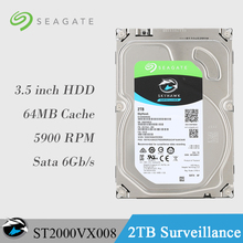 Seagate 2TB Video Surveillance HDD Internal Hard Disk Drive 5900 RPM SATA 6Gb/s 3.5-inch 64MB Cache ST2000VX008 HDD For Security(China)