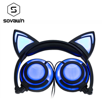 New Version Rechargeable Foldable Flash LED Glowing Cat Ear Headphones Headset Lighting Earphone For PC Computer Mobile Phone