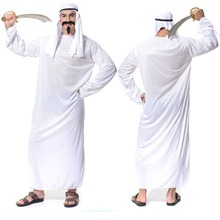 2017 New Men White Dubai Prince Arab King Cosplay Costume Adults Performance Robe Outfit Halloween Party Fancy Dress Decoration