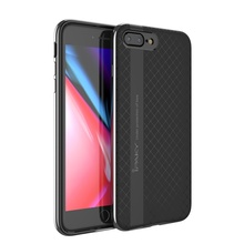 IPAKY for iPhone 8 Plus / 7 Plus Smartphone Case PC Rim + TPU Back Hybrid Phone Back Cover Case for iPhone 7 Plus Coque - Grey(China)