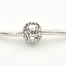 Fit Pandora Charms Bracelet 925 Sterling Silver Global Map Clip Stopper Charm Bead