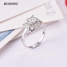 Buy BUDONG Trendy Finger Rings silver Color Engagement Wedding Rings Women Cubic Zirconia CZ Vintage Lady Jewelry Bijoux XUA092 for $3.89 in AliExpress store