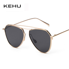 KEHU Women Flat Top Twin Beam Sunglasses Fashion Men Mirror Sun Glasses Female Elastic Metal Frame Retro Sunglasses UV400(China)