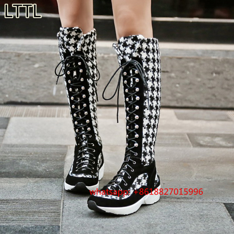 2017 Winter New Punk Locomotive Martin Long Boots Womens Two-Tone Thick Long Boots Fashion Houndstooth Lace-Up Long Boots<br><br>Aliexpress