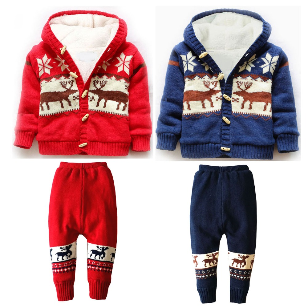 2 Pieces/Set Baby Winter Thick Clothes Set Infant Boys Girls Warm Clothes Knitted Sweater Christmas Deer Hooded Outwear 12M-4T<br><br>Aliexpress