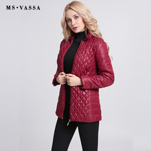 MS VASSA Autumn Parkas Women short cotton padded Jackets 2017 fashion quilting ladies elastic coats plus size 6XL 7XL outerwear(China)