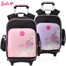 Barbie chilren/kids rolling backpack trolley school bag wheeled bag books backpack for girls grade 3-6