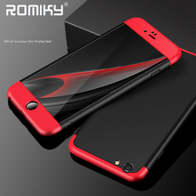 Romiky Matte Case for iPhone 7 6 Plus 6S i7 i6 i6s 6P 7P Full Body Protection Combo Split type Cover Housing Coque 360 degree