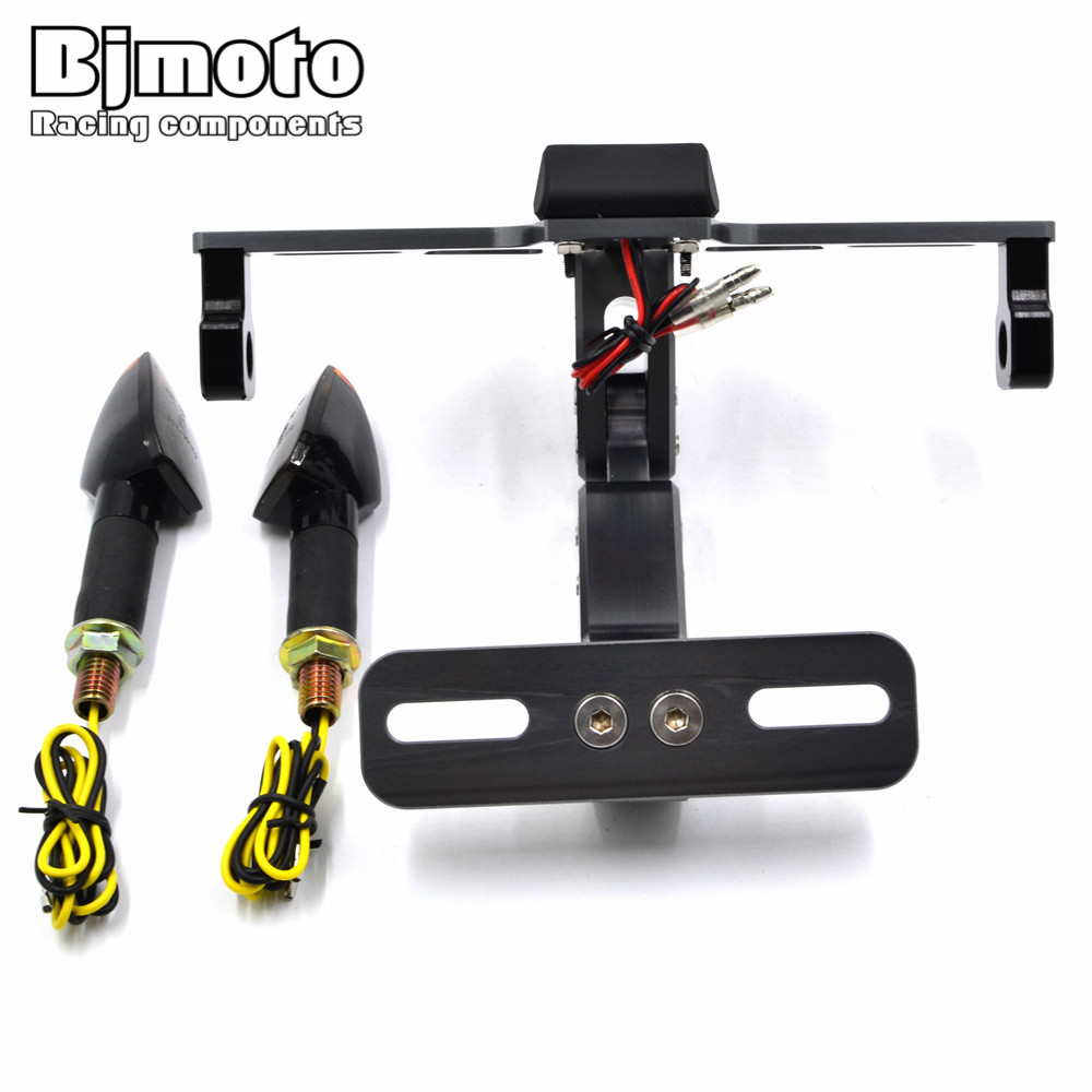 Universal Motorcycle Adjustable Multi-angle Fender Eliminator License Plate Bracket Holder Tidy Tail with Led Turn Single Light<br>