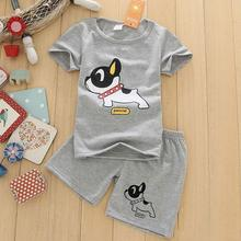 2017 New baby boy clothes short sleeve T-shirt+shorts 2-piece set O-neck dog pattern boys clothing set gray children clothing