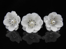 6Pcs White Pearl Flower Crystal Bridal Wedding Prom Hair Clip Hair Pins H94