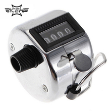Stainless Metal Mini Sport Lap Golf Handheld Manual 4 Digit Number Hand Tally Counter Clicker Silver APJ