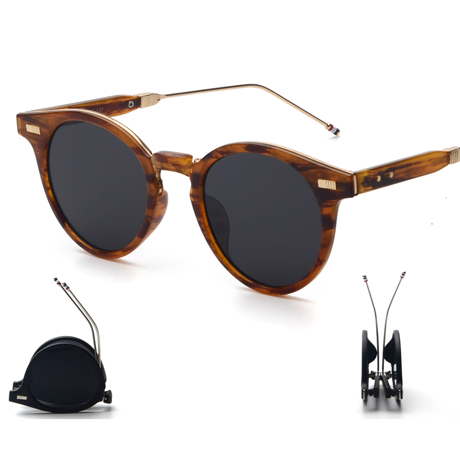 Foldable Round Coating Cool Glasses With Case Eyewear 2016 New Vintage Retro Fashion Sunglasses Women Men Brand Designer UV400<br><br>Aliexpress