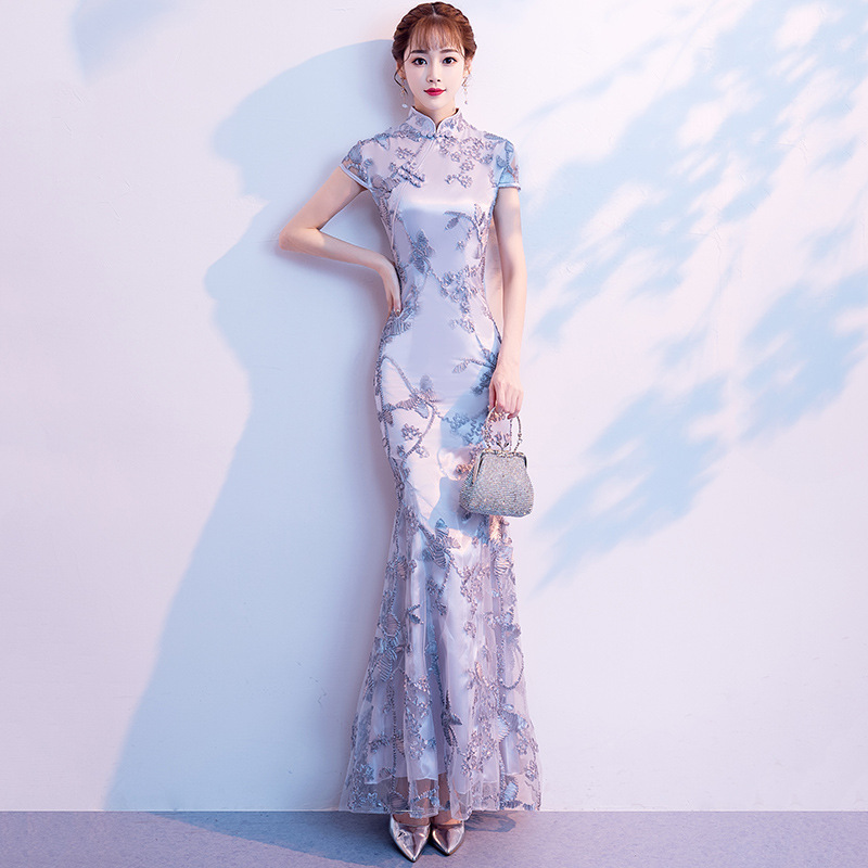 Gray Wedding Qipao Long Cheongsam Modern Chinese Traditional Dress Sexy Cheongsam Dress Robe Chinoise Vestido Oriental Prom