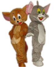 Tom Cat and Jerry Mouse Mascot Costume, Tom and Jerry Cartoon Doll Performance Costume Free Shipping