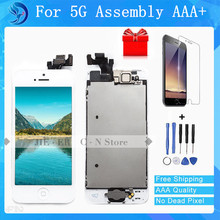 Best  Quality AAA Assembly LCD Display For iPhone 5S LCD Screen with Home Button Front Camera Speaker White and Black Freeship