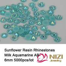 6mm 5000pcs Sunflower Jelly Flatback Round Resin Rhinestones Milk Aquamarine AB Color Beads DIY Decorations 3D Nail Art Design(China)