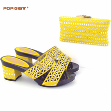 Hot sale 2017 crystal shining yellow novelty fashion design heels  Italian comfortable Shoes Matching clutch small handBag Set