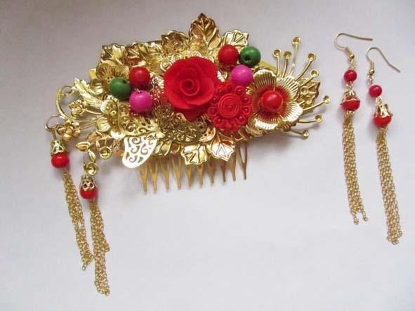 Red Bride Wedding Hair Accessory Head Piece Bride Flower Hanfu Costume Xiu He Fu Wedding Use Hair Jewelry<br>
