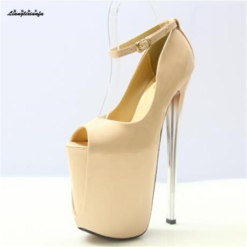 LLXF zapatos Plus:34-41 42 43 Summer 2017 Sandals Nightclub Peep Toe 22/19/16cm High-heeled Shoes woman Stiletto female Pumps<br>