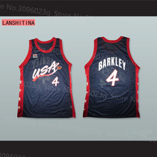 LANSHITINA Charles Barkley #4 USA White/Dark Blue Retro Throwback Stitched Basketball Jersey Shirt(China)