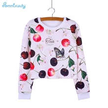 Fashion 3D Cherry & Flower print women's sweatshirts female Autumn clothes Harajuku girls outwear cropped pullovers wholesale(China)