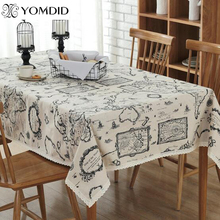 Map Tablecloth European style Linen Cotton Functional Table Cloth for Home Hotel Picnic Party Tablecloths Rectangular
