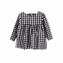 Hot Selling Girls Winter Dress Kids Casual Cotton Dresses Children Fashion Plaid Clothing M2