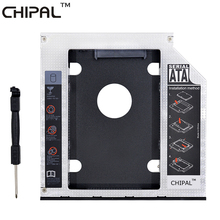 "CHIPAL Aluminum Universal SATA 3.0 2nd HDD Caddy 12.7mm 2.5"" Hard Drive Enclosure SSD Case + LED Indicator for Laptop DVD/CD-ROM"