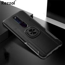 US $1.99  20%OFF | For OPPO F11 Pro Case Skin Texture Metal Ring Silicone Car Stand Back Cover for OPPO F11 Case Armor Hard PC Fundas Car Holder