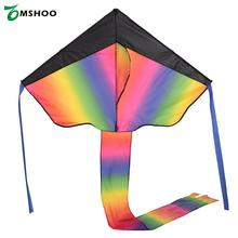 Outdoor Colorful Rainbow Delta-shaped Flying Kite Beach Toys for Kids Adults with Tail Ribbons 30m String