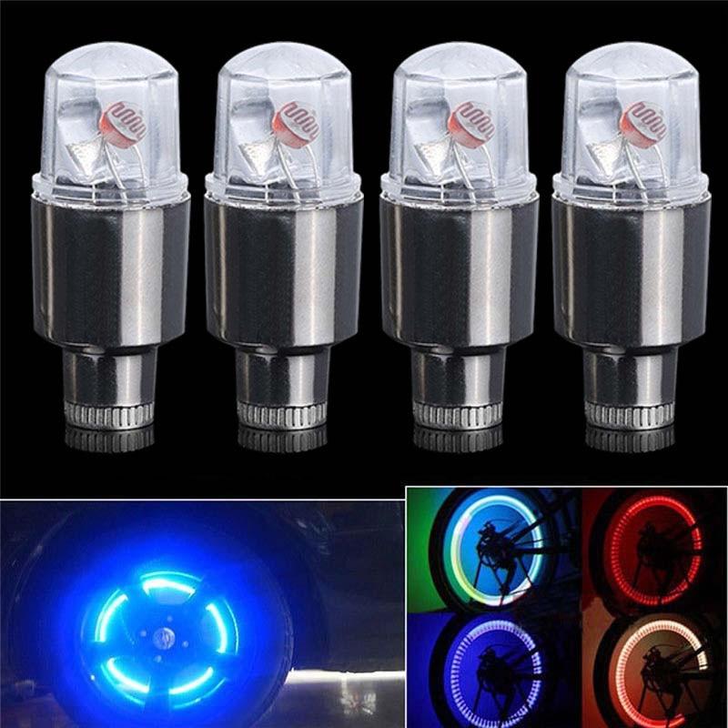 4x LED Tire Valve Cap Lamp Spoke light Flash For Bike Bicycle Car Motor Wheel XS