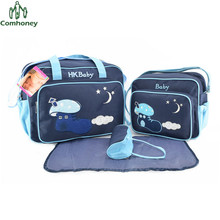 Baby Care Diaper Bag Cartoon Nappy Change Bag For Mom 4pcs Multifunctional Baby Bottle Holder Mummy Stroller Bag Baby Handbag
