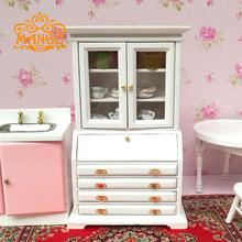 Cute MINI 1:12 Dollhouse Miniature furniture Classic cabinet White cupboards show edge ark Free Shipping