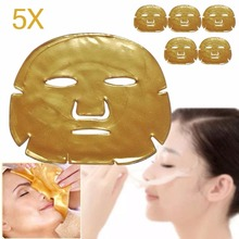 5Pcs/Lot Women Skin Care Facial Mask Gold Collagen Gold Crystal Collagen Powder Face Mask for Moisturizing Firming Oil-control(China)