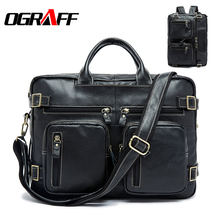 OGRAFF Genuine Leather Men Shoulder Bags Male Luggage Bags Laptop Bag Men 2017 Large Capacity Travel Bags Men Handbags