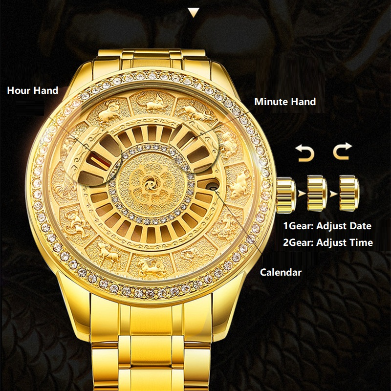 02018 New TEVISE Zodiac Signs Men Watch Automatic Mechanical Wristwatches Limited Edition Watch Men Gold Male Clock saat erkekler (7)