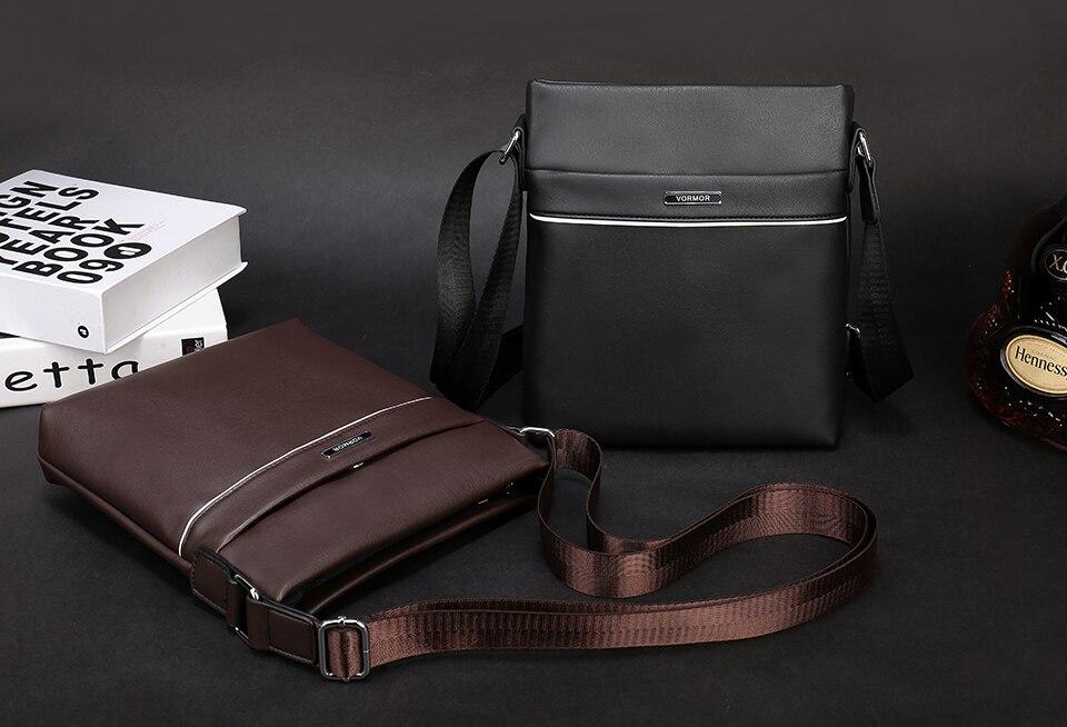 55b0e7f955c VORMOR Brand Leather Men Bag Casual Business Leather Mens Messenger ...