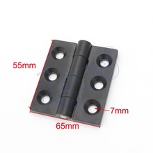 2PCS Three Holes Black Bearing Hinge 65mm x 55mm Door Butt Hinges Zinc Alloy