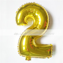 "1pcs 16'' Cute Silver/Gold number ""2"" Foil Ballon Helium Balloon New Year Birthday Christmas party Wedding Decoration Ballon"
