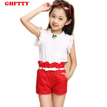 2016 New Hot Sale Girl Clothing Set Top and Pants For Baby Girl Summer Wear Children Clothing 2 Pcs With Belt Baby Clothe 5-13 A