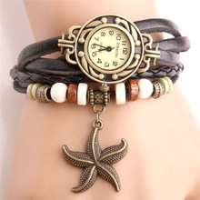 Women Braid Watch New Fashion Vintage Lady Starfish Jewelry Superfine Slim Leather Watchband Female Dress Watches FD0626