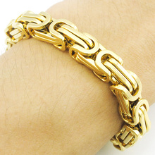 ATGO Promotion! Men's Bracelets Chain Link Bracelet Stainless Steel 8mm Width Byzantine Wholesale High Quality BB247