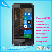 "Free Shipping 6"" Handheld Terminal PDA Windows 10 Rugged Tablet PC Waterproof Mobile phone GPS 2D Laser Barcode Scanner"