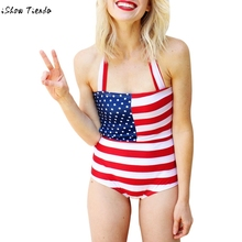 American Flag Print One Piece Swimsuit Fused A Whole Bathing Suit For Women 2017 Swimwear Bandeau Biquini badpak plus size(China)