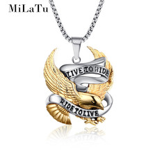 MiLaTu Punk Men Gold-color Eagle Pendant Necklace Stainless Steel Chain Pendant Men Hawk Necklace Male Jewelry Gift NE270G(China)