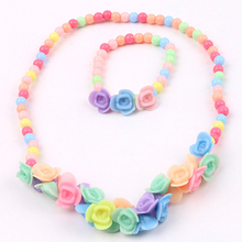 Newest Kids Girls Lovely Multicolor Beads Flowers Necklace Bracelet 2 in 1 Party Jewelry Set