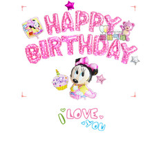 20pcs/lot Mickey Minnie Mouse theme Party Supplies Happy Birthday pink/blue Letters Foil Balloons baby shower Party Decorations