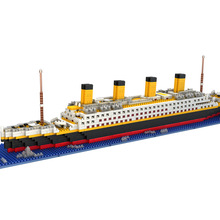 1860PCS Big Size Titanic Ship Building Blocks Toy Titanic Boat 3D Model Educational Gift Toy for Children Compatible With lepin(China)
