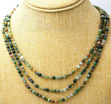 Beautiful 3 rows 4 mm Natural multicolor Indian agates beads necklace 17-19(China)